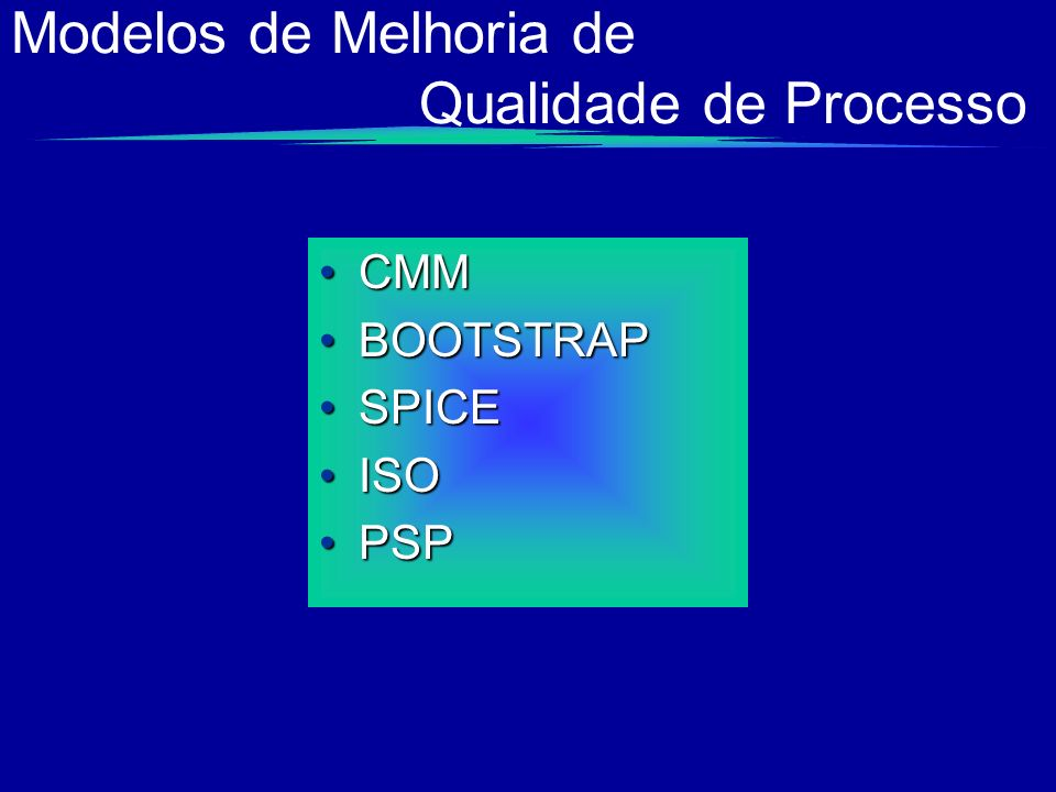 Modelos de Melhoria de Qualidade de Processo
