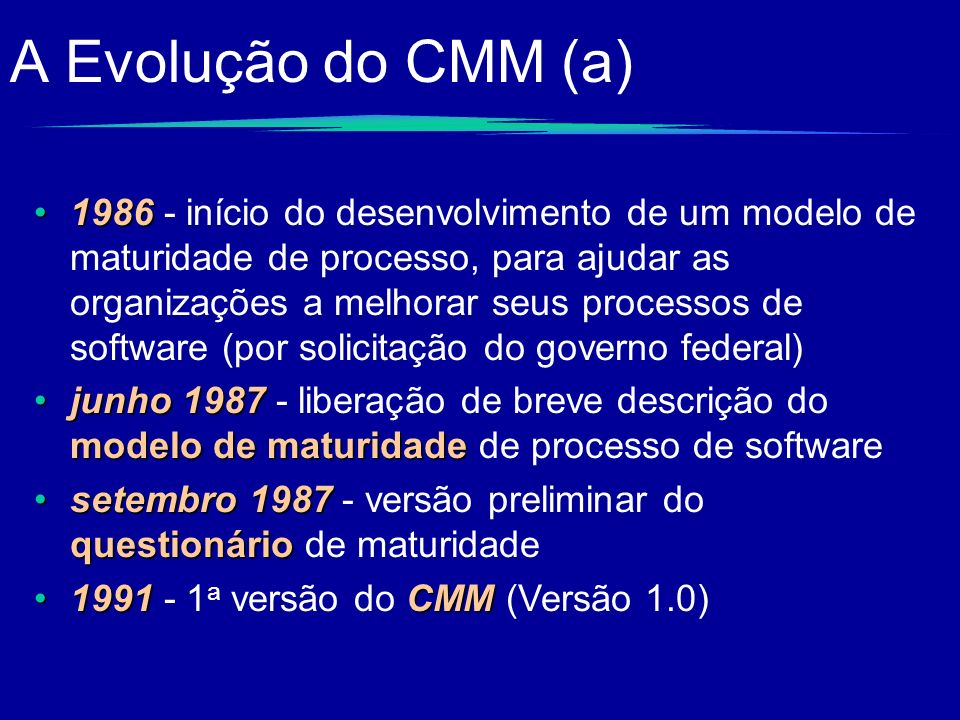 A Evolução do CMM (a)