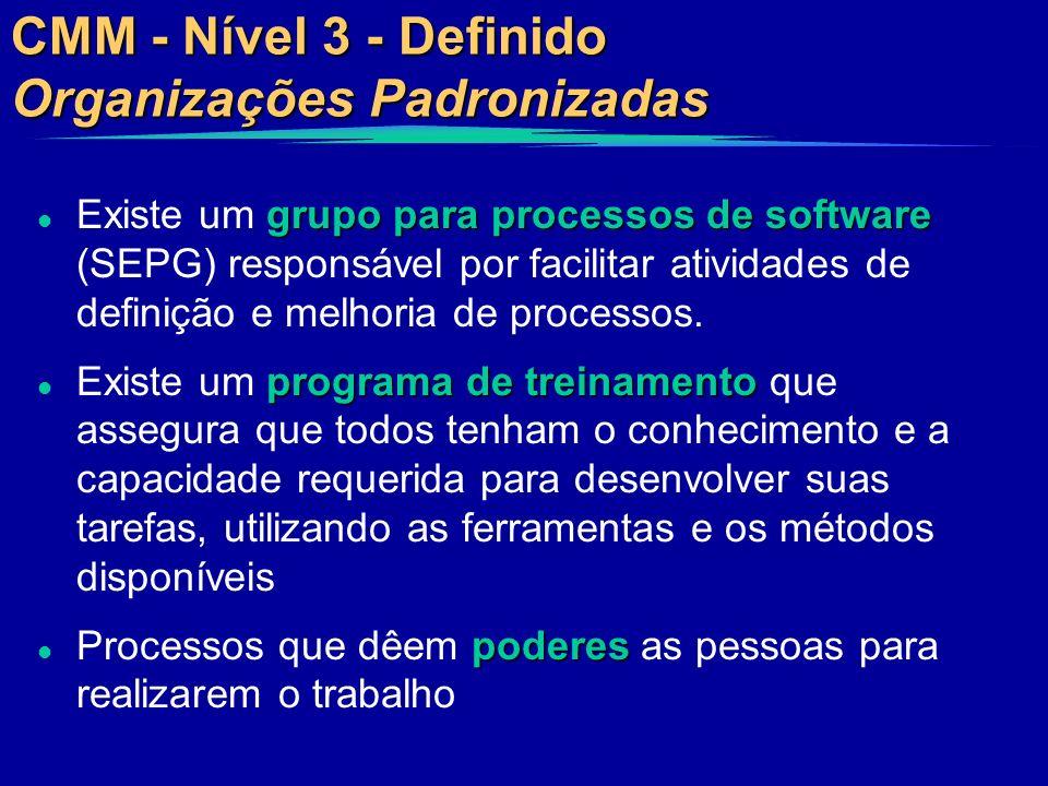 CMM - Nível 3 - Definido Organizações Padronizadas