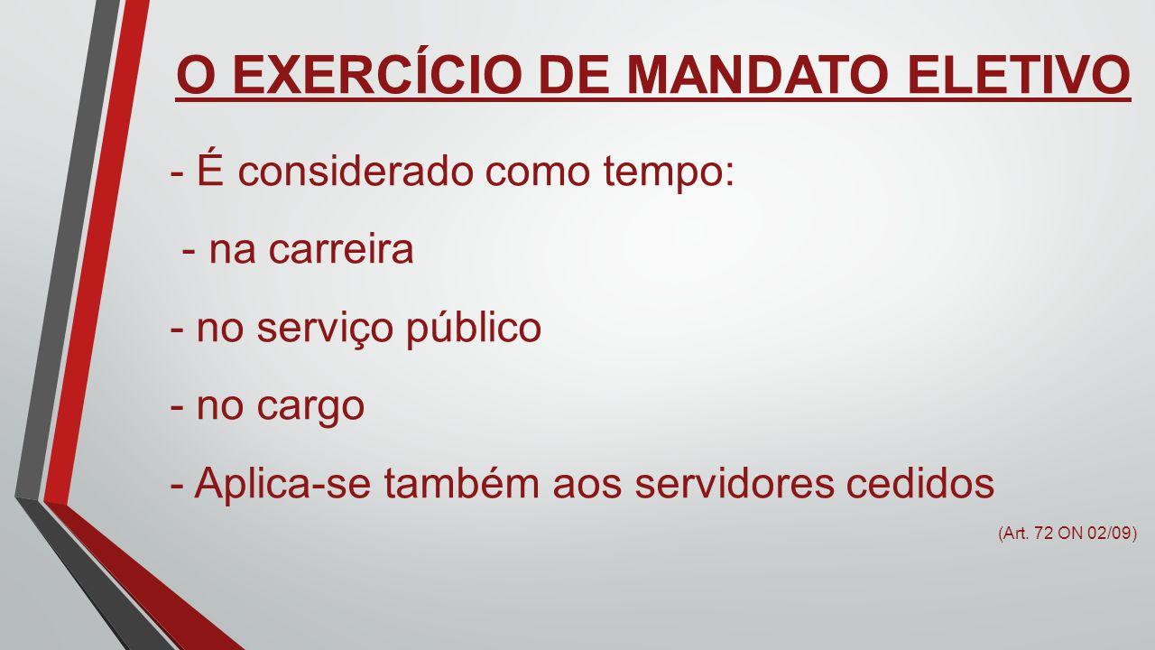 O EXERCÍCIO DE MANDATO ELETIVO