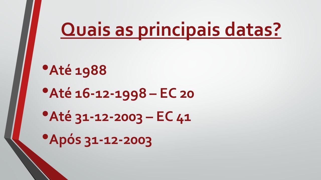 Quais as principais datas