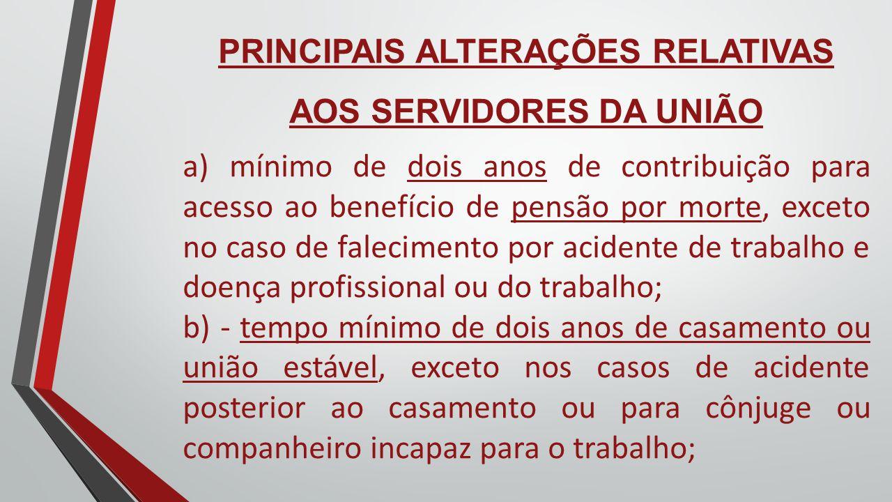 PRINCIPAIS ALTERAÇÕES RELATIVAS AOS SERVIDORES DA UNIÃO