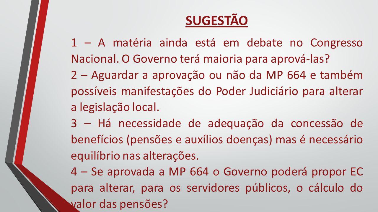 SUGESTÃO 1 – A matéria ainda está em debate no Congresso Nacional. O Governo terá maioria para aprová-las