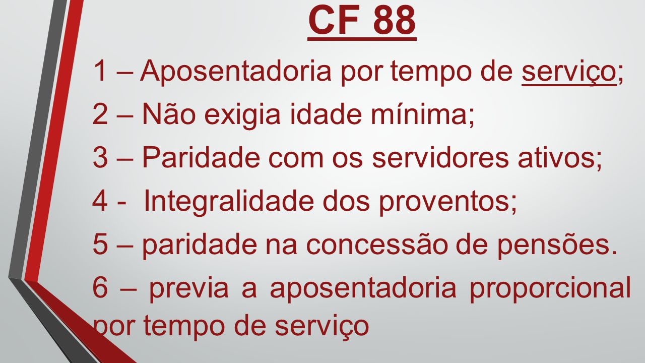 CF 88 1 – Aposentadoria por tempo de serviço;