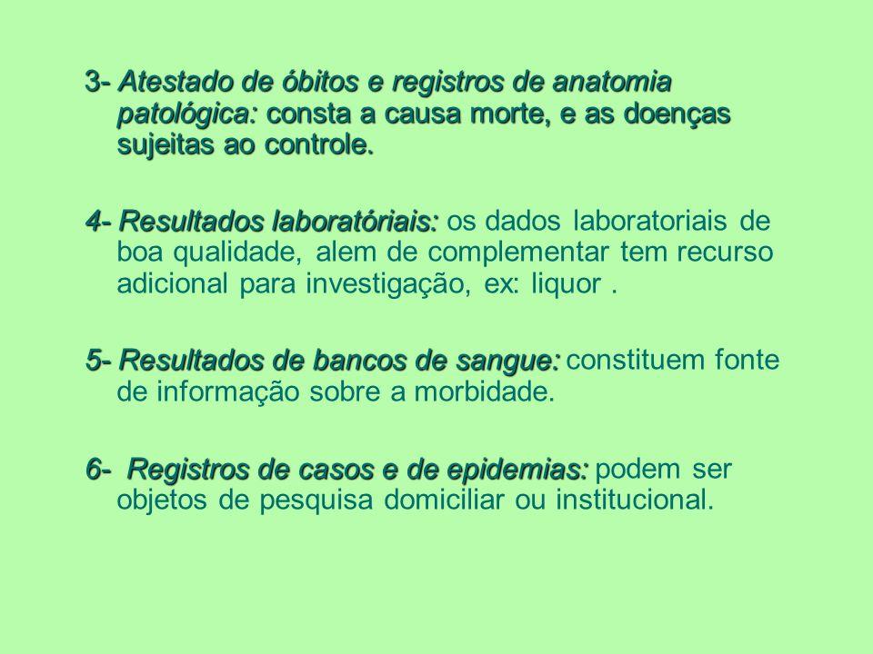 3- Atestado de óbitos e registros de anatomia patológica: consta a causa morte, e as doenças sujeitas ao controle.