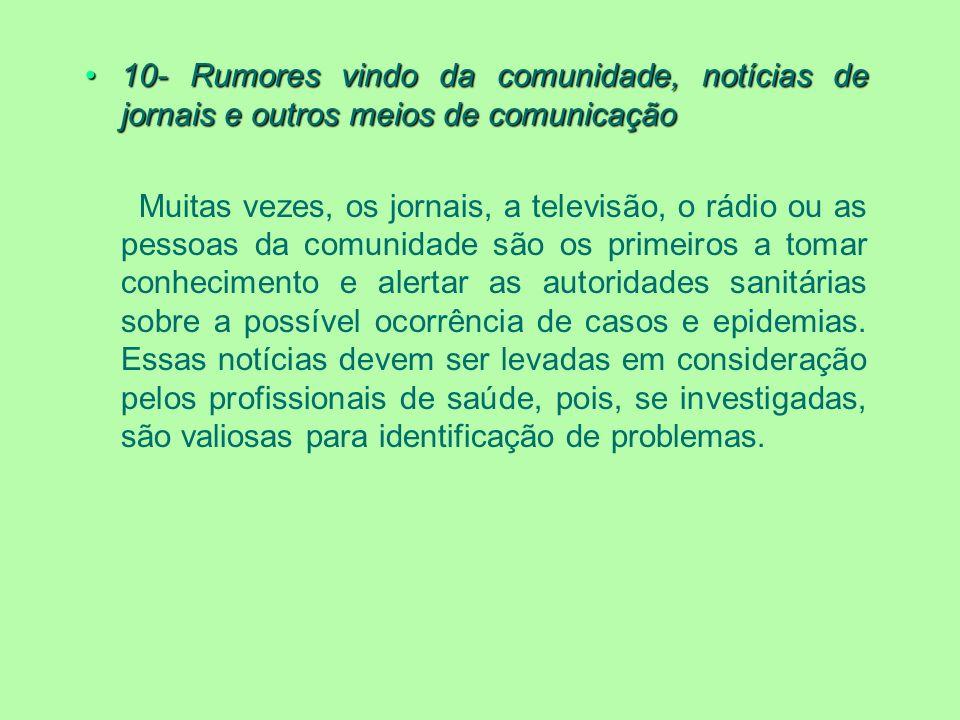 10- Rumores vindo da comunidade, notícias de jornais e outros meios de comunicação
