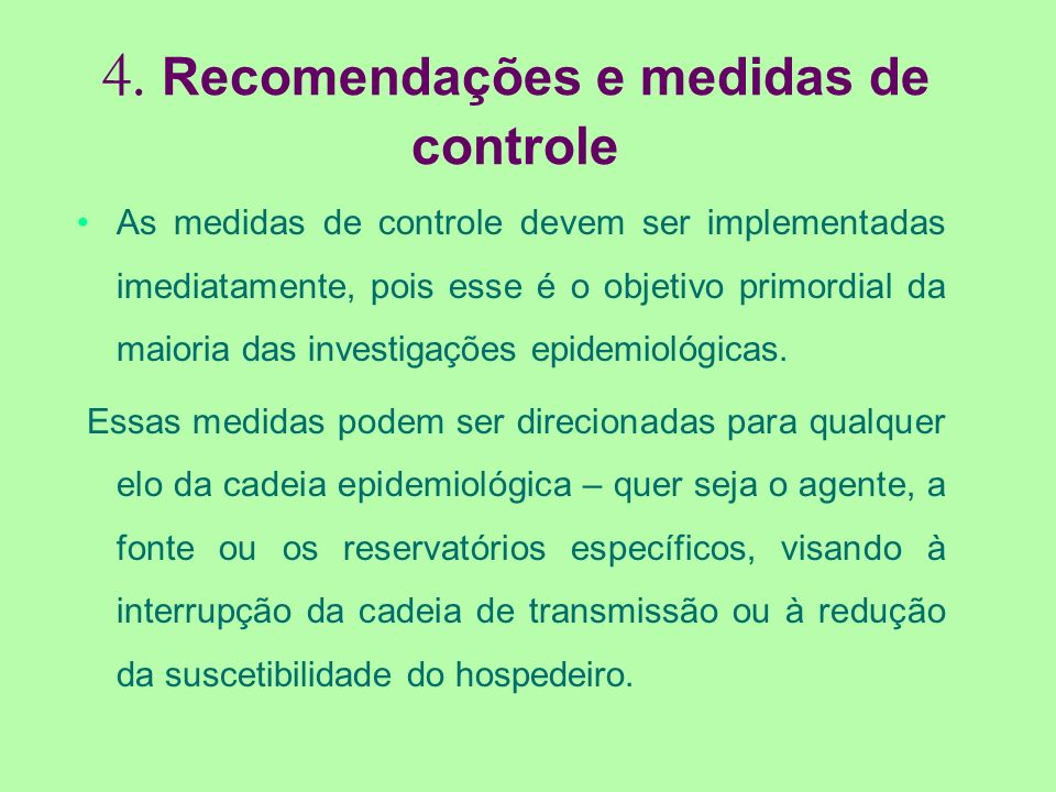 4. Recomendações e medidas de controle