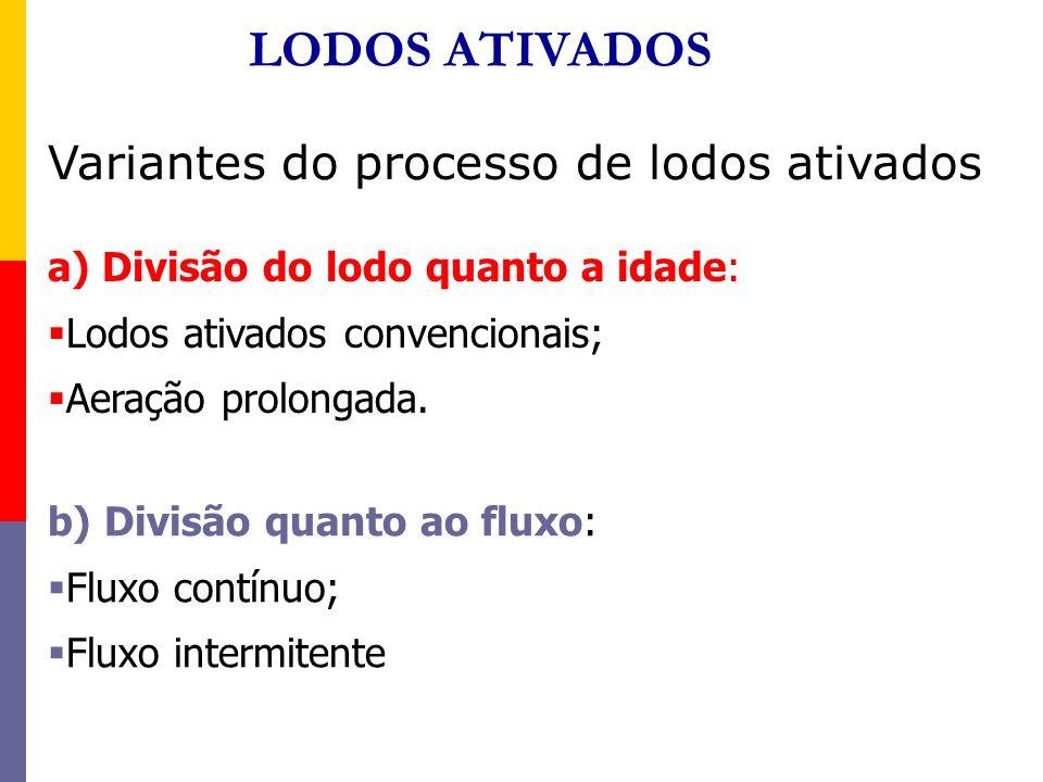 LODOS ATIVADOS Variantes do processo de lodos ativados