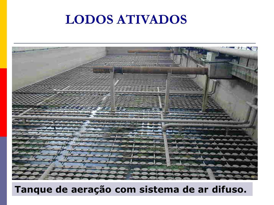 LODOS ATIVADOS Tanque de aeração com sistema de ar difuso.