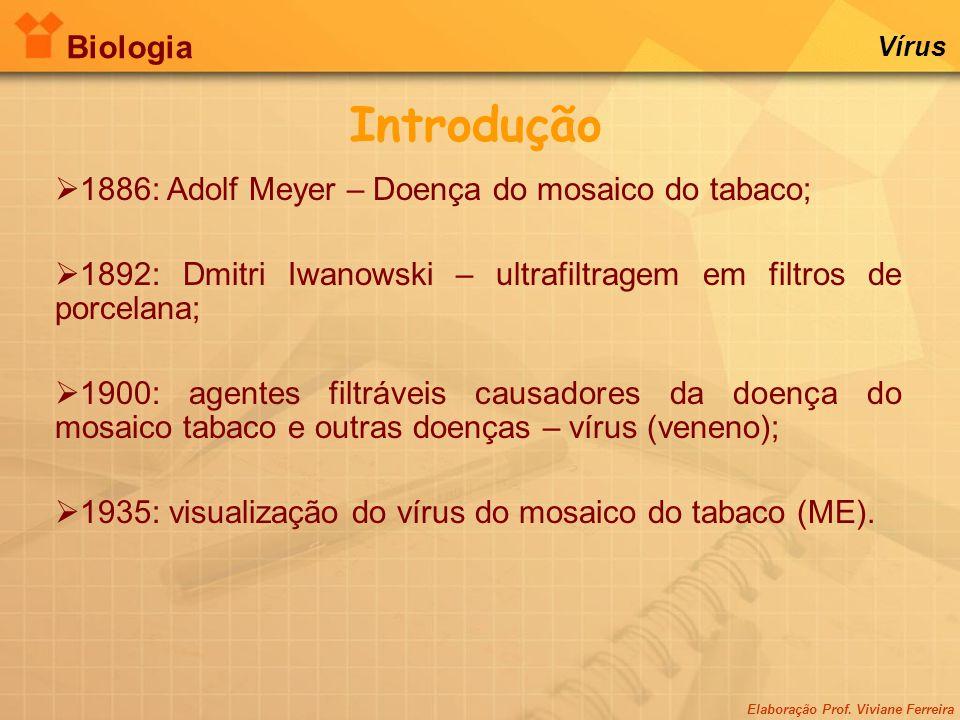 Introdução Biologia 1886: Adolf Meyer – Doença do mosaico do tabaco;