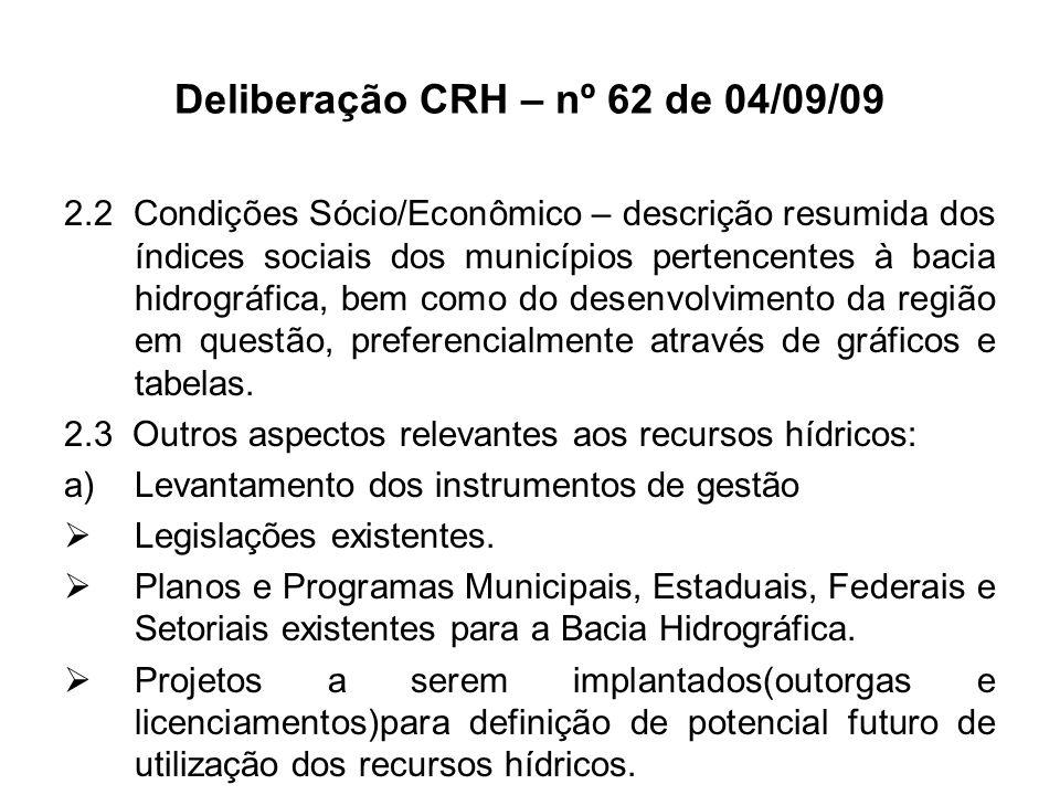 Deliberação CRH – nº 62 de 04/09/09