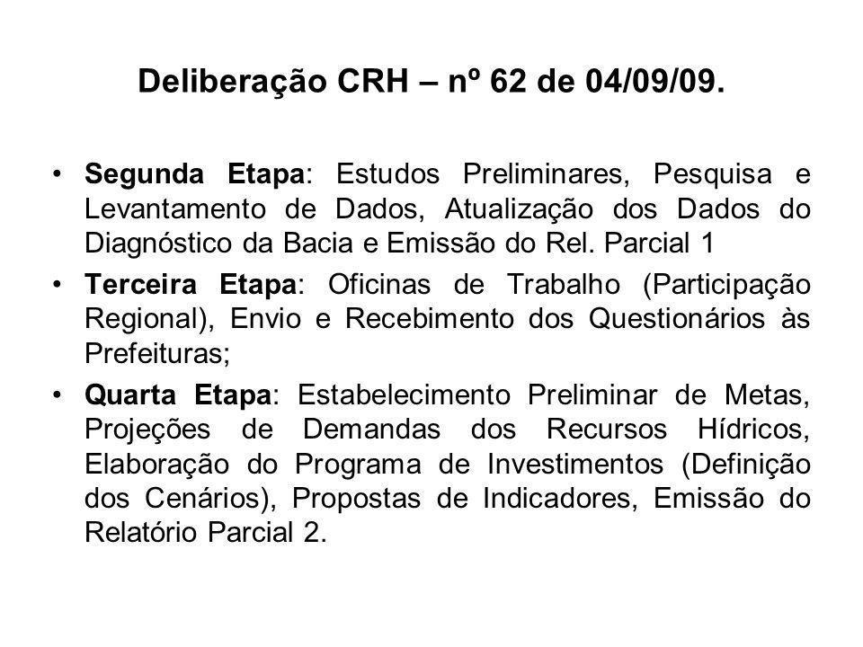 Deliberação CRH – nº 62 de 04/09/09.