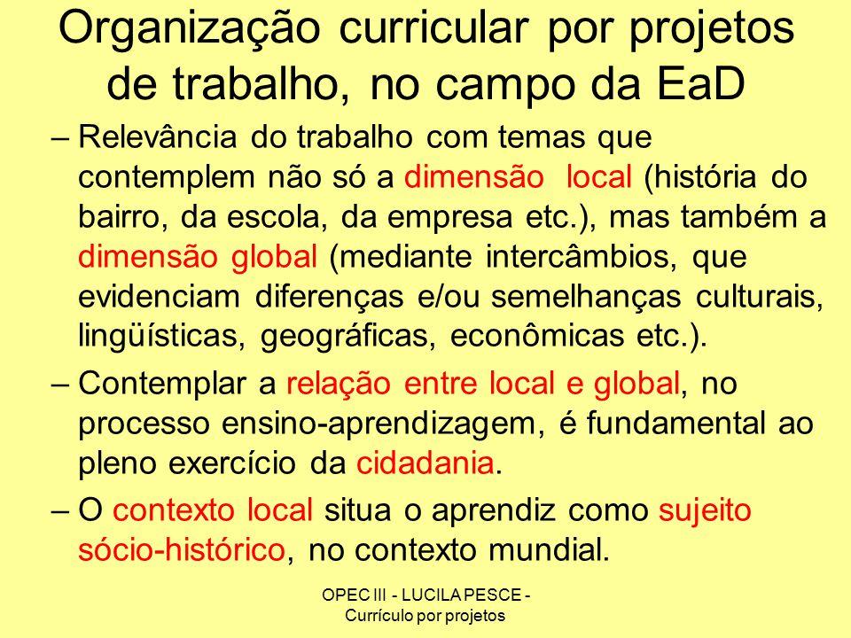 Organização curricular por projetos de trabalho, no campo da EaD
