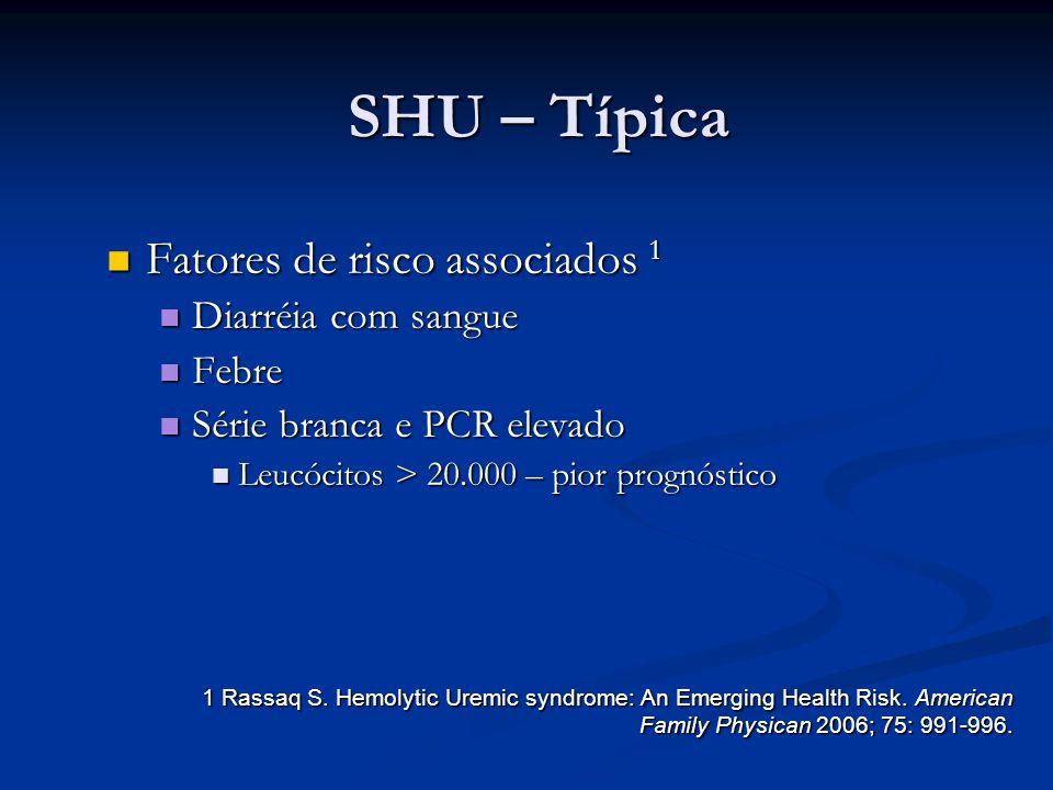 SHU – Típica Fatores de risco associados 1 Diarréia com sangue Febre