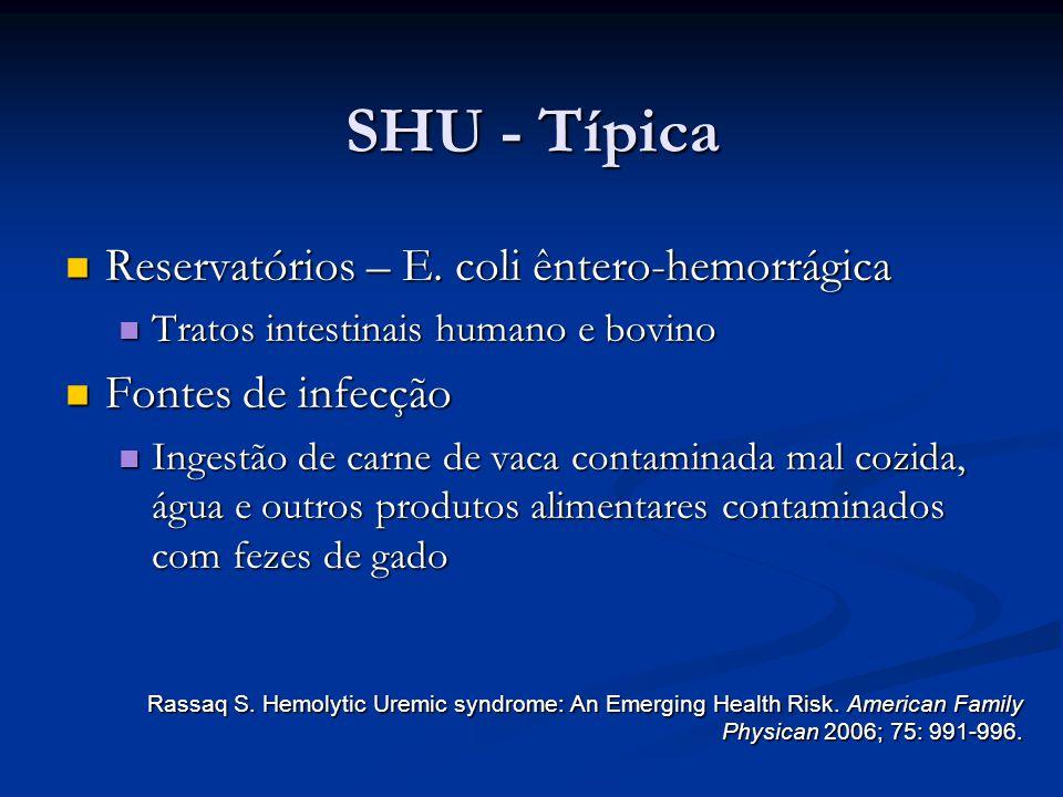 SHU - Típica Reservatórios – E. coli êntero-hemorrágica