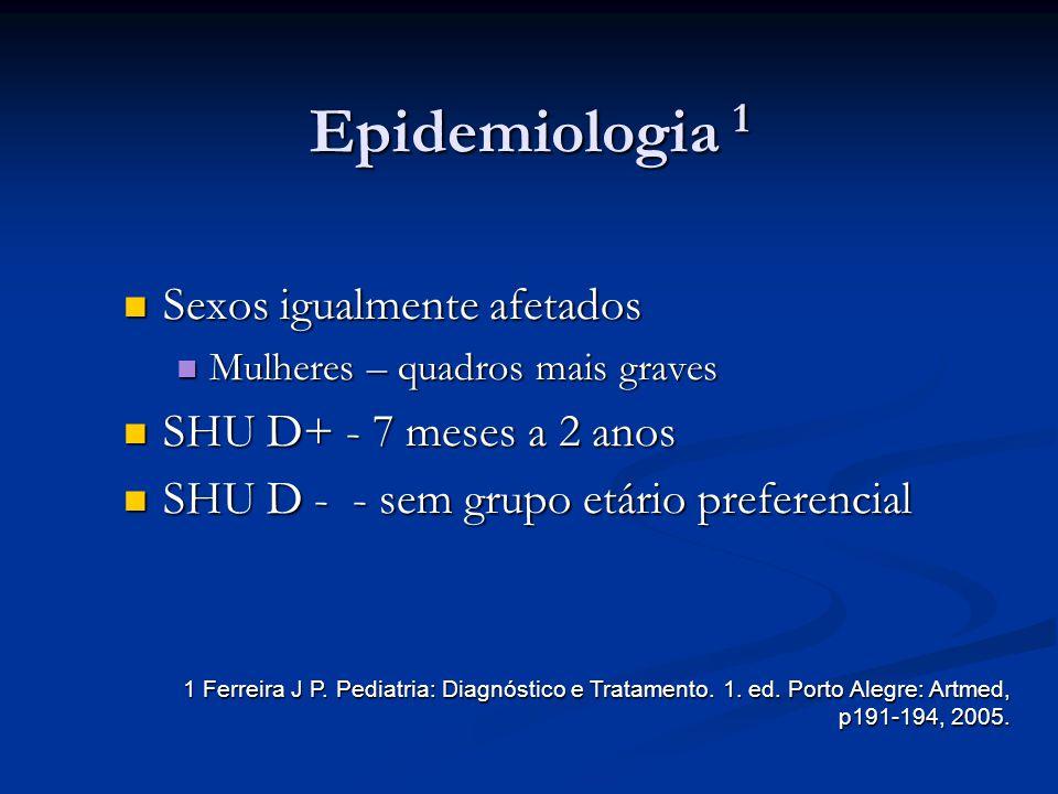 Epidemiologia 1 Sexos igualmente afetados SHU D+ - 7 meses a 2 anos