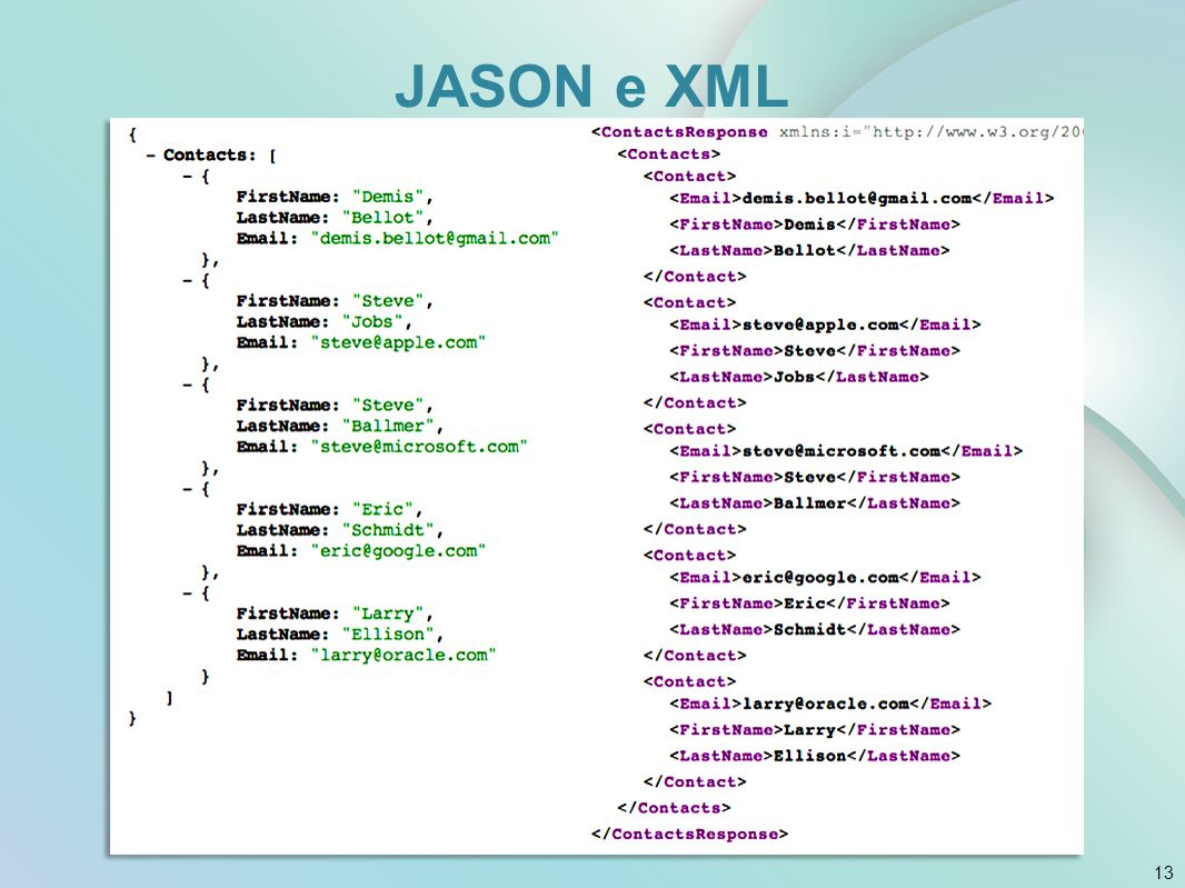 JASON e XML