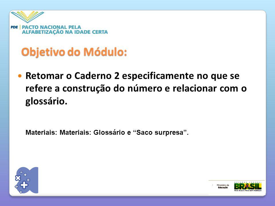 Retomar o Caderno 2 especificamente no que se refere a construção do número e relacionar com o glossário.