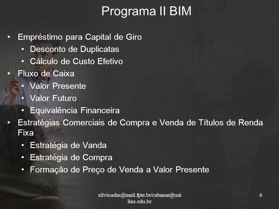 Programa II BIM Empréstimo para Capital de Giro Desconto de Duplicatas