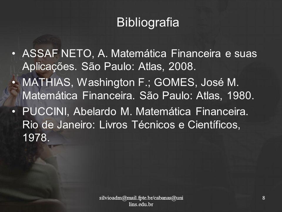 Bibliografia ASSAF NETO, A. Matemática Financeira e suas Aplicações. São Paulo: Atlas, 2008.