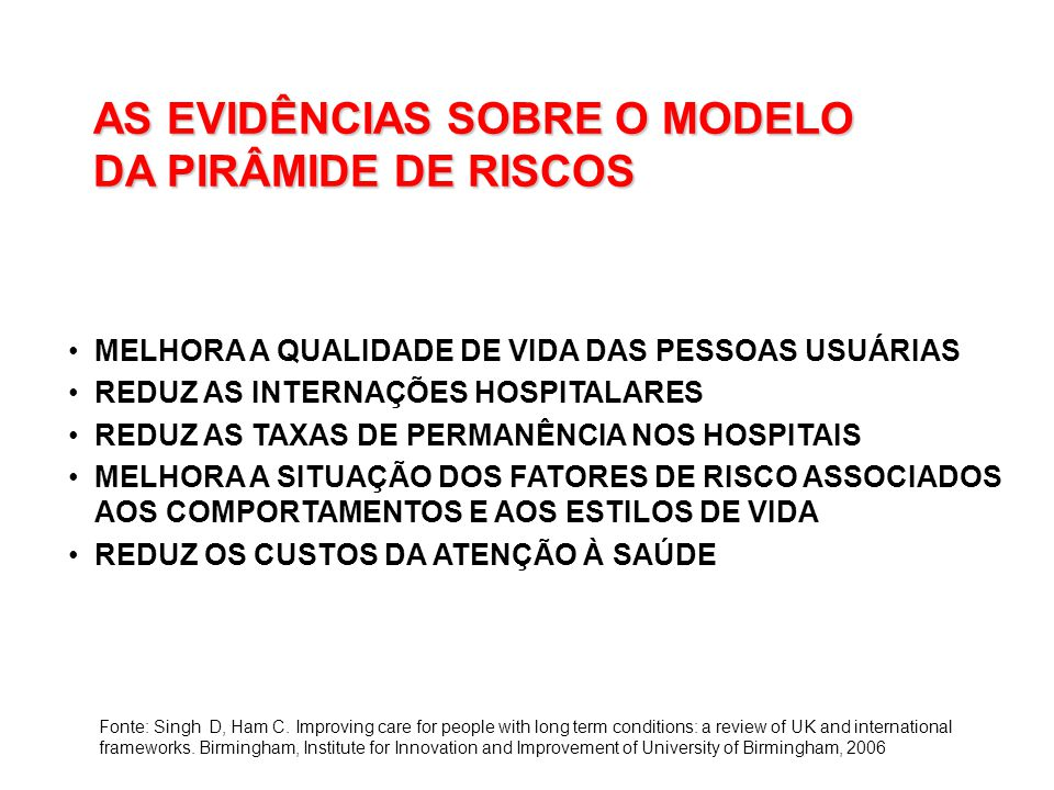 AS EVIDÊNCIAS SOBRE O MODELO DA PIRÂMIDE DE RISCOS