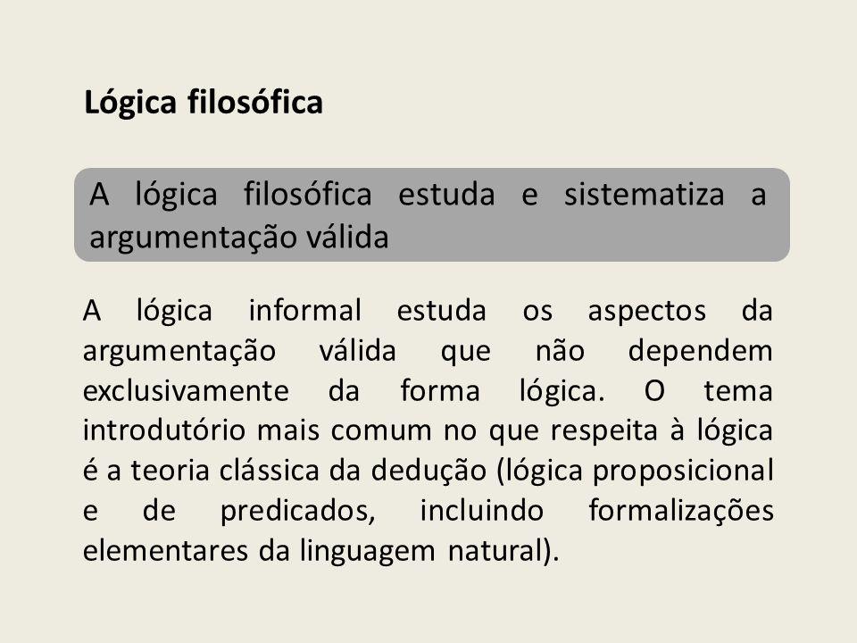 Lógica filosófica A lógica filosófica estuda e sistematiza a argumentação válida.