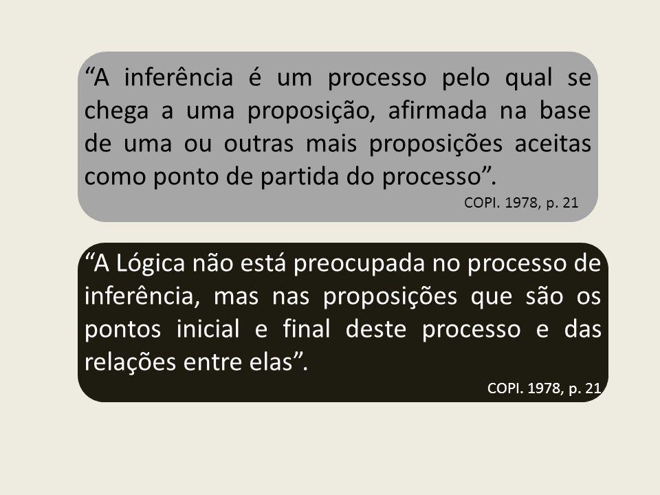A inferência é um processo pelo qual se chega a uma proposição, afirmada na base de uma ou outras mais proposições aceitas como ponto de partida do processo .