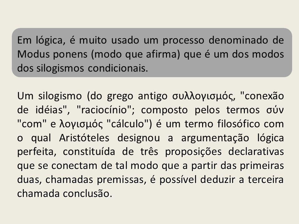 Em lógica, é muito usado um processo denominado de Modus ponens (modo que afirma) que é um dos modos dos silogismos condicionais.
