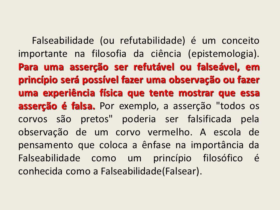 Falseabilidade (ou refutabilidade) é um conceito importante na filosofia da ciência (epistemologia).