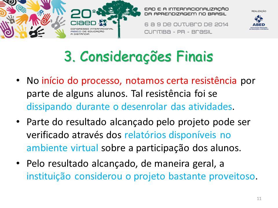 3. Considerações Finais