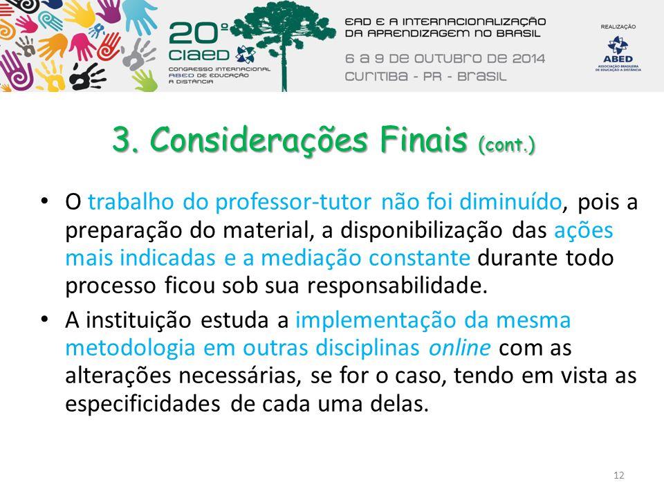 3. Considerações Finais (cont.)