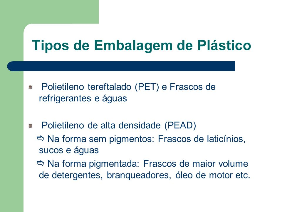 Tipos de Embalagem de Plástico