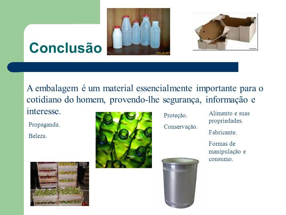 Conclusão A embalagem é um material essencialmente importante para o cotidiano do homem, provendo-lhe segurança, informação e interesse.