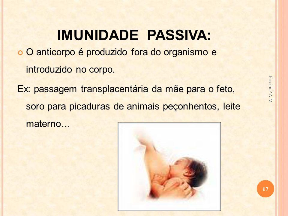 IMUNIDADE PASSIVA:O anticorpo é produzido fora do organismo e introduzido no corpo.