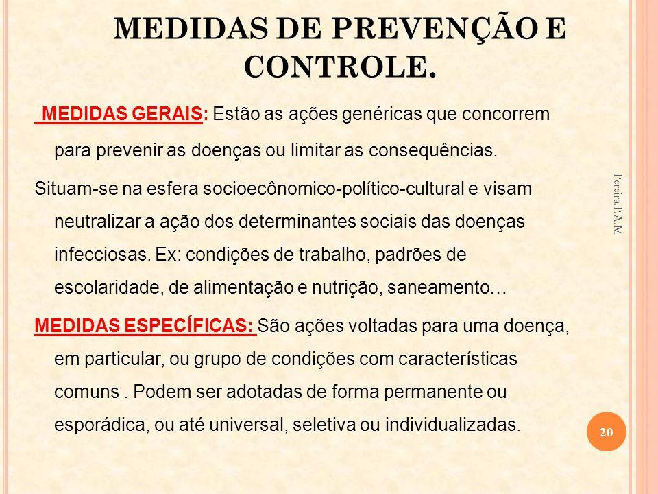 MEDIDAS DE PREVENÇÃO E CONTROLE.