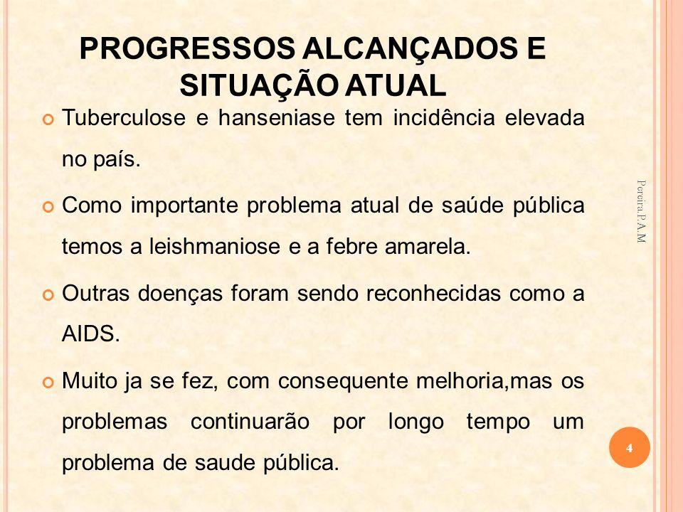 PROGRESSOS ALCANÇADOS E SITUAÇÃO ATUAL