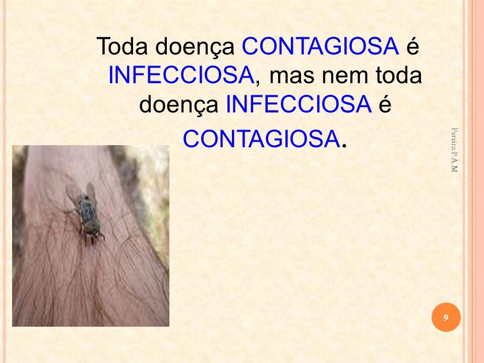 Toda doença CONTAGIOSA é INFECCIOSA, mas nem toda doença INFECCIOSA é CONTAGIOSA.
