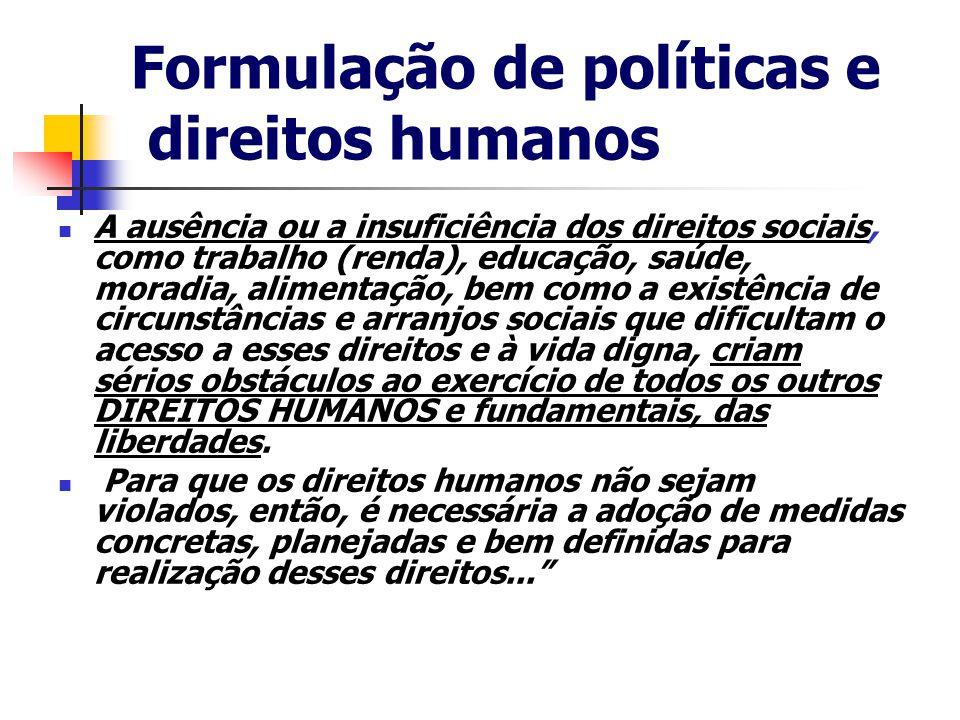 Formulação de políticas e direitos humanos