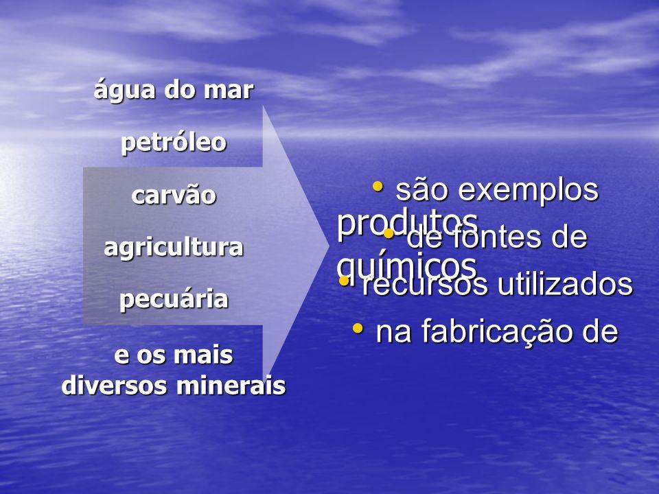 produtos químicos são exemplos de fontes de recursos utilizados