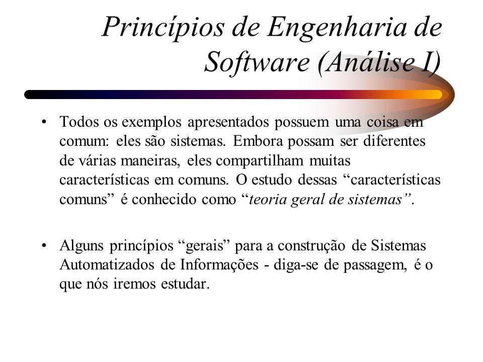 Princípios de Engenharia de Software (Análise I)