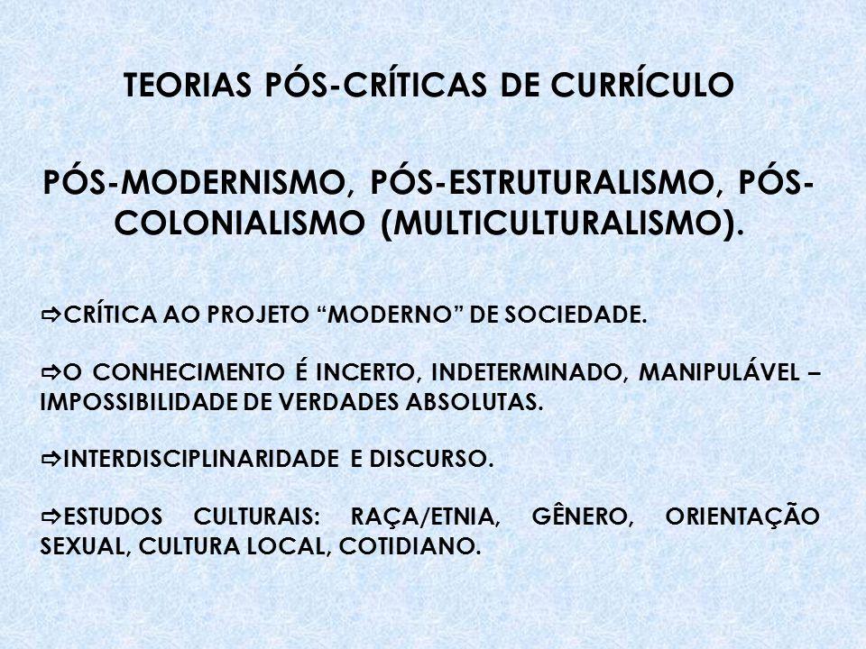 TEORIAS PÓS-CRÍTICAS DE CURRÍCULO