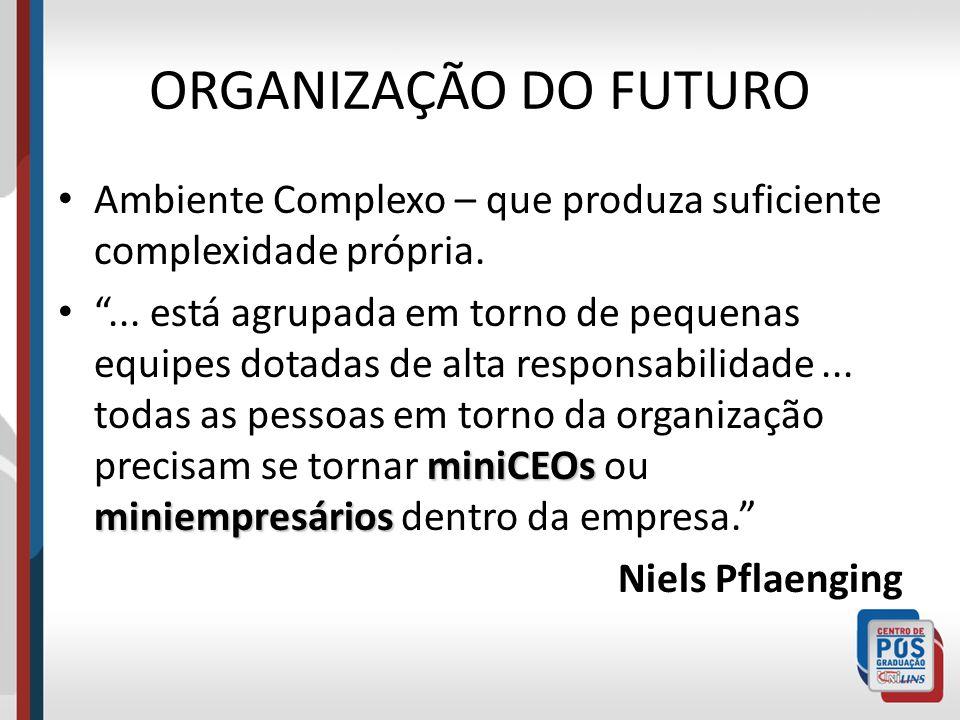 ORGANIZAÇÃO DO FUTURO Ambiente Complexo – que produza suficiente complexidade própria.