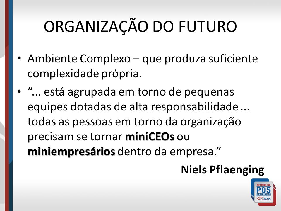ORGANIZAÇÃO DO FUTUROAmbiente Complexo – que produza suficiente complexidade própria.