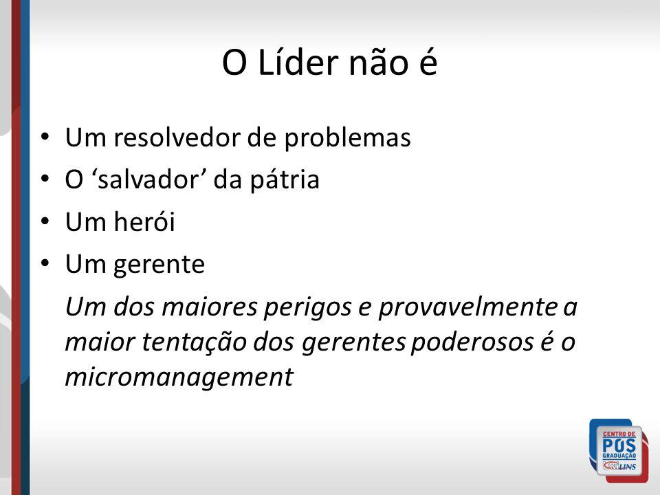 O Líder não é Um resolvedor de problemas O 'salvador' da pátria