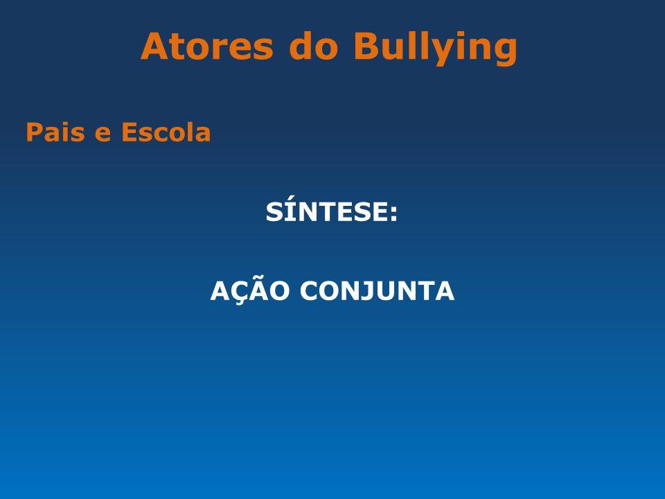 Atores do Bullying Pais e Escola SÍNTESE: AÇÃO CONJUNTA
