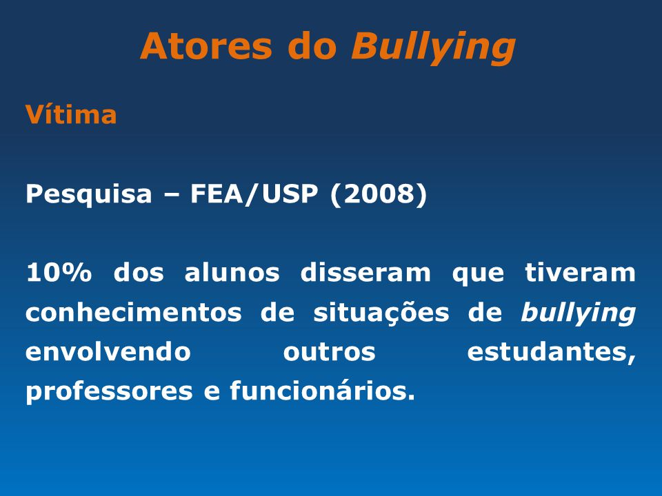 Atores do Bullying Vítima Pesquisa – FEA/USP (2008)