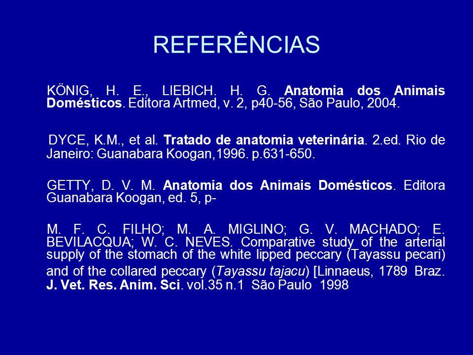 REFERÊNCIAS KÖNIG, H. E., LIEBICH. H. G. Anatomia dos Animais Domésticos. Editora Artmed, v. 2, p40-56, São Paulo, 2004.