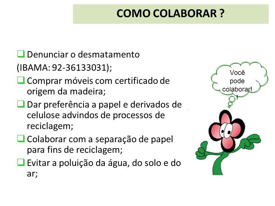 COMO COLABORAR Denunciar o desmatamento (IBAMA: 92-36133031);