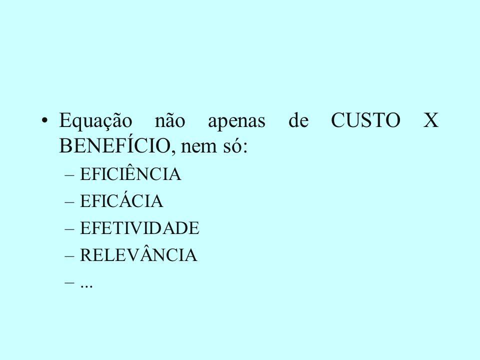Equação não apenas de CUSTO X BENEFÍCIO, nem só:
