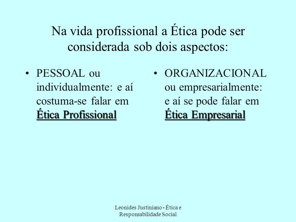 Na vida profissional a Ética pode ser considerada sob dois aspectos: